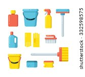 cleaning supplies icons in flat ... | Shutterstock . vector #332598575