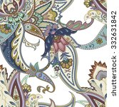 flowers seamless paisley...   Shutterstock .eps vector #332631842