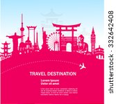 world travel vector pink concept | Shutterstock .eps vector #332642408