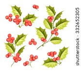 christmas mistletoe holiday set....   Shutterstock .eps vector #332652305