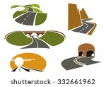 mountain and rural roads ... | Shutterstock .eps vector #332661962
