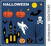 halloween. lock  bats  pumpkin  ... | Shutterstock .eps vector #332670185