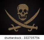 vector gold skull. jolly roger. ...