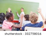 portrait of children raised... | Shutterstock . vector #332758016