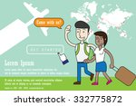man and woman backpacking.... | Shutterstock .eps vector #332775872