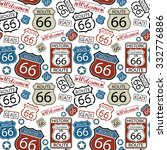 seamless route 66 pattern | Shutterstock .eps vector #332776886