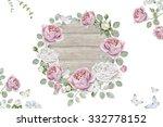 watercolor vintage floral frame | Shutterstock . vector #332778152