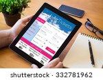 hands of a man surfing tickets... | Shutterstock . vector #332781962
