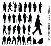 lots of people silhouettes | Shutterstock .eps vector #33278827