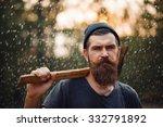 Brutal Brunette Bearded Man In...