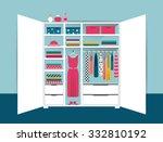 open wardrobe. white closet... | Shutterstock .eps vector #332810192