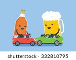 alcohol and beer push 2 cars to ... | Shutterstock .eps vector #332810795