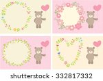 toy teddy bear with heart on... | Shutterstock .eps vector #332817332
