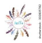 vintage  round wreath with... | Shutterstock . vector #332835782