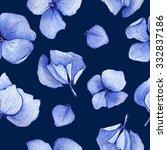 blue hydrangea seamless pattern  | Shutterstock . vector #332837186