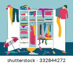 open wardrobe. white closet... | Shutterstock .eps vector #332844272