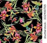 summer garden blooming... | Shutterstock . vector #332900705