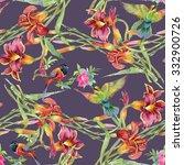 summer garden blooming...   Shutterstock . vector #332900726