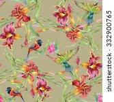 summer garden blooming... | Shutterstock . vector #332900765
