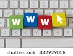 the word www in colorful wooden ... | Shutterstock . vector #332929058