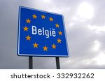 road sign indicating the border ... | Shutterstock . vector #332932262