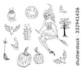 hand drawn halloween set.... | Shutterstock . vector #332941436