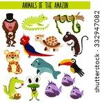 set of cute cartoon animals and ... | Shutterstock .eps vector #332947082