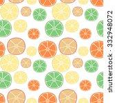 fresh citrus fruits. hand drawn ... | Shutterstock .eps vector #332948072