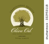 banner with olive tree and... | Shutterstock .eps vector #332953118