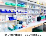 blur background drug shelves in ... | Shutterstock . vector #332955632