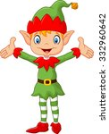 cute green elf boy costume ... | Shutterstock .eps vector #332960642