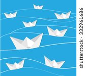 Vector Paper Boat In Blue Waves