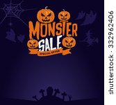 monster sale badge label on... | Shutterstock .eps vector #332962406
