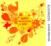 happy thanksgiving day card.... | Shutterstock .eps vector #332965376