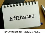 Affiliates memo written on a notebook with pen - stock photo