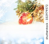 christmas apples on snow | Shutterstock . vector #332979572