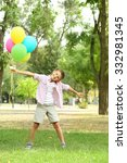 little boy with balloons in the ... | Shutterstock . vector #332981345