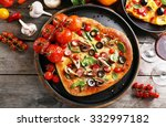 decorated pizza with vegetables ... | Shutterstock . vector #332997182