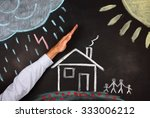 hand protect a house  | Shutterstock . vector #333006212