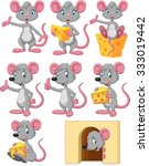Stock vector cartoon funny mouse collection set 333019442
