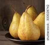 Fresh Ripe Yellow Pears On...