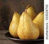 Fresh Ripe Yellow Pears On...