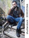 young fashion bearded model man ...   Shutterstock . vector #333035366