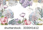 watercolor floral background ... | Shutterstock . vector #333041612