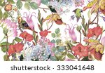 watercolor floral background ... | Shutterstock . vector #333041648