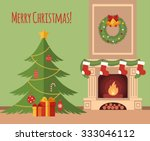 christmas tree by the fireplace ... | Shutterstock .eps vector #333046112