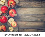Fresh Red Apples On Wooden...