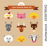 set of animal masks for costume ... | Shutterstock .eps vector #333078542