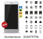 mobile phone and icons set | Shutterstock .eps vector #333079796