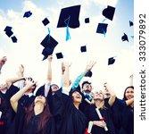 graduation caps thrown... | Shutterstock . vector #333079892